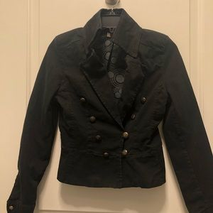 Black Military Inspired Cotton Jacket X Small